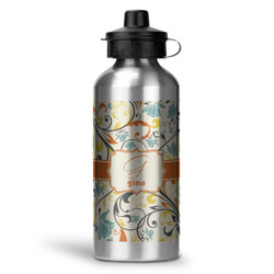 Swirly Floral Water Bottle - Aluminum - 20 oz (Personalized)