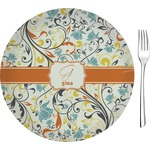 Swirly Floral Glass Appetizer / Dessert Plates 8
