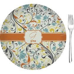 """Swirly Floral 8"""" Glass Appetizer / Dessert Plates - Single or Set (Personalized)"""