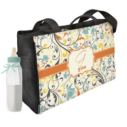 Swirly Floral Diaper Bag (Personalized)