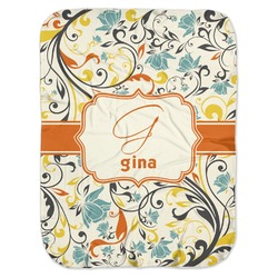 Swirly Floral Baby Swaddling Blanket (Personalized)