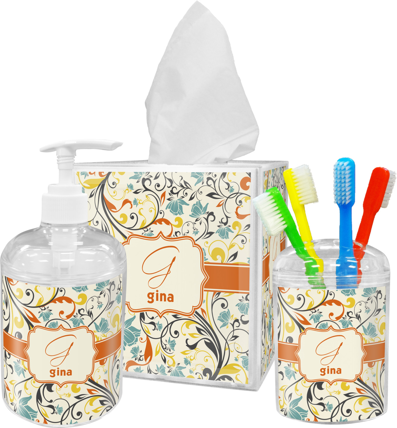 Swirly Floral Tissue Box Cover Personalized You