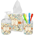 Swirly Floral Acrylic Bathroom Accessories Set w/ Name and Initial