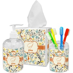 Swirly Floral Bathroom Accessories Set (Personalized)