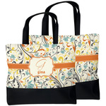 Swirly Floral Beach Tote Bag (Personalized)