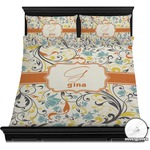 Swirly Floral Duvet Cover Set (Personalized)
