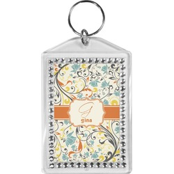 Swirly Floral Bling Keychain (Personalized)