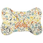 Swirly Floral Bone Shaped Dog Food Mat (Personalized)