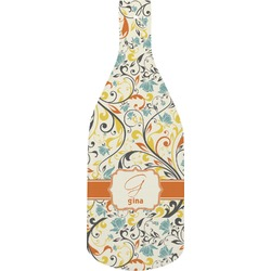 Swirly Floral Bottle Shaped Cutting Board (Personalized)