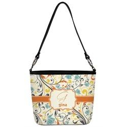 Swirly Floral Bucket Bag w/ Genuine Leather Trim (Personalized)