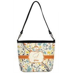 Swirly Floral Bucket Bag w/ Genuine Leather Trim (Personalized)