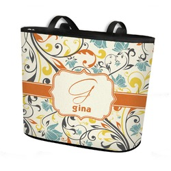 Swirly Floral Bucket Tote w/ Genuine Leather Trim (Personalized)