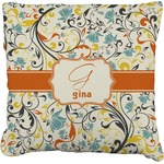 Swirly Floral Faux-Linen Throw Pillow (Personalized)