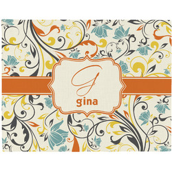 Swirly Floral Woven Fabric Placemat - Twill w/ Name and Initial
