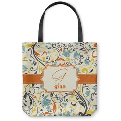 Swirly Floral Canvas Tote Bag (Personalized)