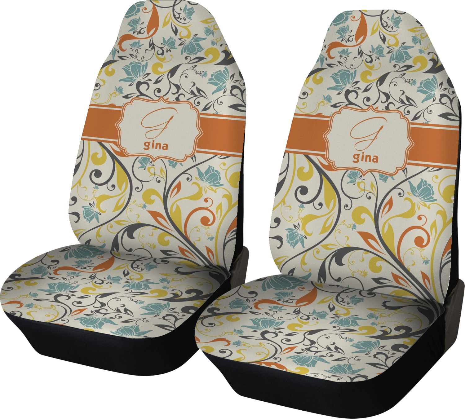 Swirly Floral Car Seat Covers Set Of Two Personalized