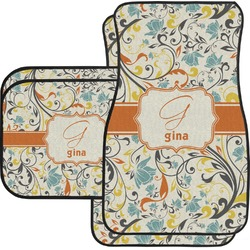 Swirly Floral Car Floor Mats Set - 2 Front & 2 Back (Personalized)
