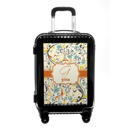Swirly Floral Carry On Hard Shell Suitcase (Personalized)