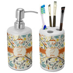 Swirly Floral Bathroom Accessories Set (Ceramic) (Personalized)