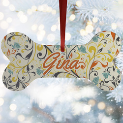Swirly Floral Ceramic Dog Ornaments w/ Name and Initial