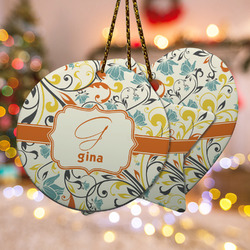 Swirly Floral Ceramic Ornament w/ Name and Initial