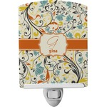 Swirly Floral Ceramic Night Light (Personalized)