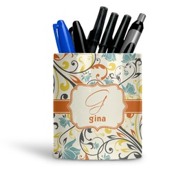Swirly Floral Ceramic Pen Holder