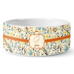 Swirly Floral Ceramic Pet Bowl (Personalized)