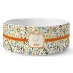 Swirly Floral Ceramic Dog Bowl (Personalized)