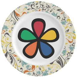 Swirly Floral Ceramic Dinner Plates (Set of 4) (Personalized)