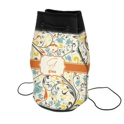 Swirly Floral Neoprene Drawstring Backpack (Personalized)
