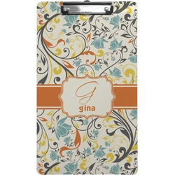 Swirly Floral Clipboard (Legal Size) (Personalized)