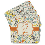 Swirly Floral Cork Coaster - Set of 4 w/ Name and Initial