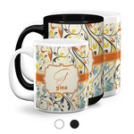 Swirly Floral Coffee Mugs (Personalized)