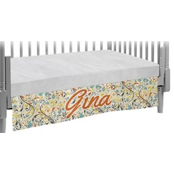 Swirly Floral Crib Skirt (Personalized)