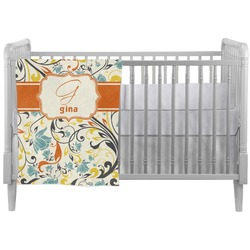 Swirly Floral Crib Comforter / Quilt (Personalized)