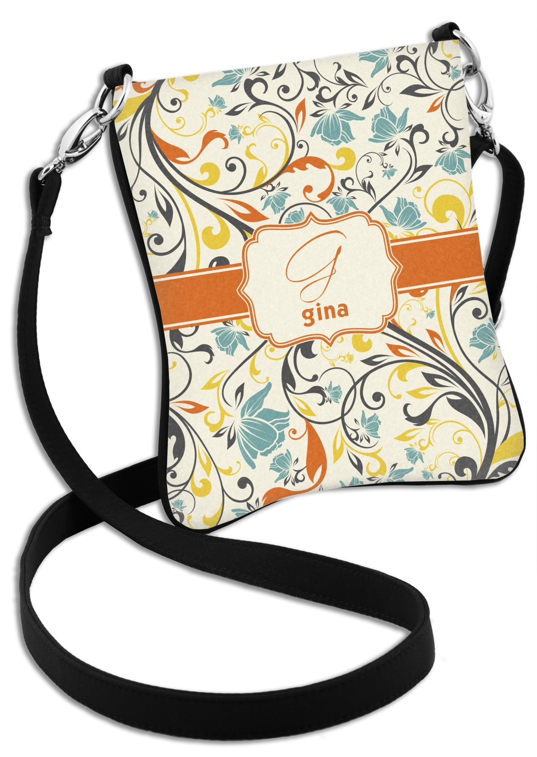Personalized Swirly Floral Messenger Bag
