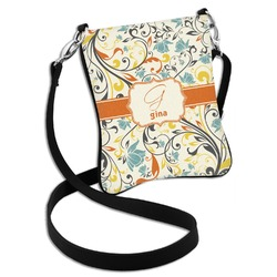 Swirly Floral Cross Body Bag - 2 Sizes (Personalized)