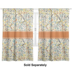 "Swirly Floral Curtains - 40""x84"" Panels - Unlined (2 Panels Per Set) (Personalized)"