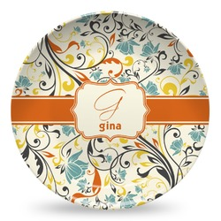 Swirly Floral Microwave Safe Plastic Plate - Composite Polymer (Personalized)