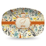 Swirly Floral Plastic Platter - Microwave & Oven Safe Composite Polymer (Personalized)