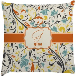 Swirly Floral Decorative Pillow Case (Personalized)