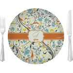 Swirly Floral Glass Lunch / Dinner Plates 10