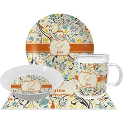 Swirly Floral Dinner Set - 4 Pc (Personalized)