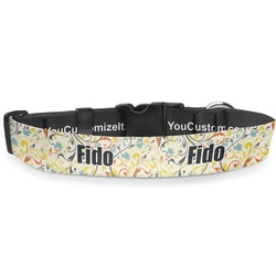 Swirly Floral Deluxe Dog Collar (Personalized)