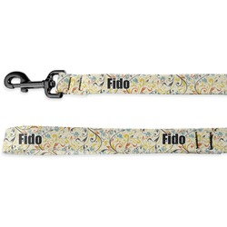 Swirly Floral Deluxe Dog Leash (Personalized)
