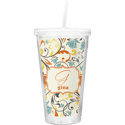 Swirly Floral Double Wall Tumbler with Straw (Personalized)