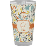 Swirly Floral Drinking / Pint Glass (Personalized)