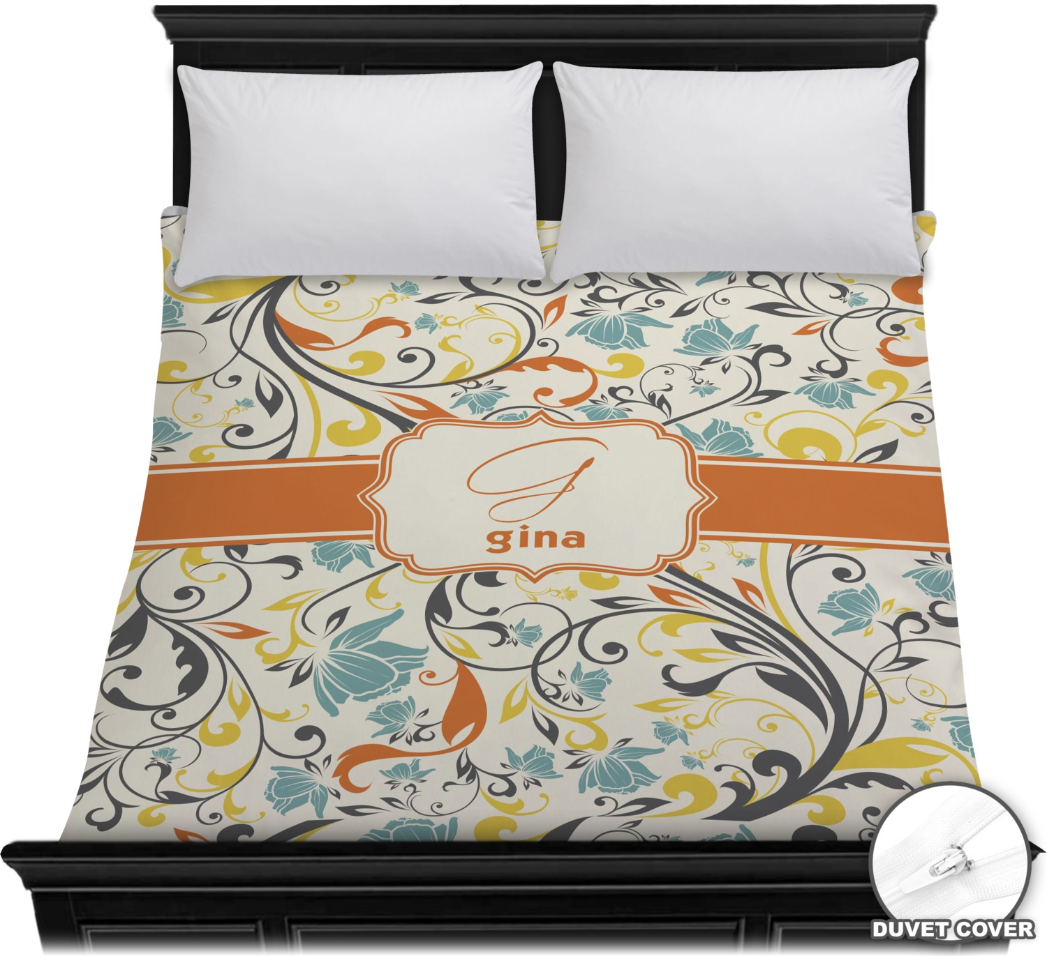 swirly floral duvet cover full queen personalized youcustomizeit. Black Bedroom Furniture Sets. Home Design Ideas