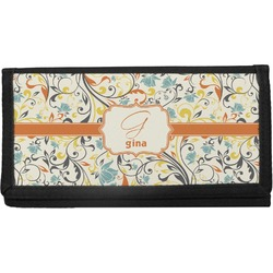 Swirly Floral Canvas Checkbook Cover (Personalized)